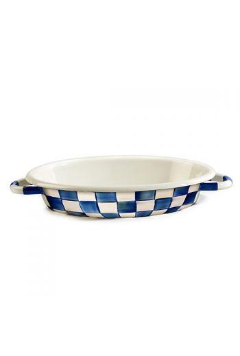 "MacKenzie-Childs Royal Check Medium Oval Gratin  - 9"" wide, 11.75"" long, "", 60 oz. capacity"