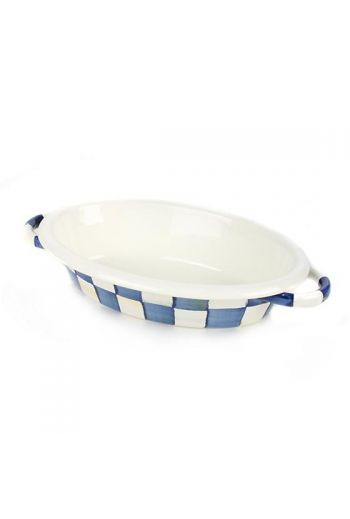 """MacKenzie-Childs Royal Check Small Oval Gratin - 6"""" wide, 8.75"""" long, 4 oz. capacity"""