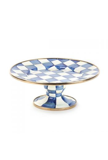 "MacKenzie-Childs Royal Check Pedestal Mini Platter - 8"" dia., 3"" tall"