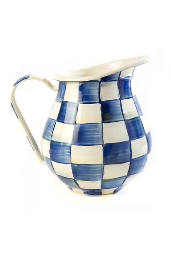 "MacKenzie-Childs Royal Check Pitcher - 6"" dia., 9"" wide (includes handle), 8.5"" tall, 3 qt. capacity"