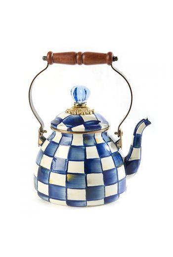 "MacKenzie-Childs Royal Check 2 Quart Tea Kettle - 7"" base dia., 10.5"" tall, 2 qt. capacity"