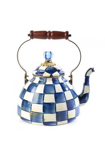 "MacKenzie-Childs Royal Check 3 Quart Tea Kettle - 9"" base dia., 13"" tall, 3 qt. capacity"