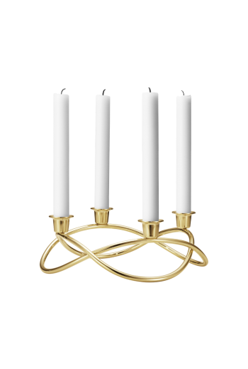 Georg Jensen Season 18 kt. Gold Plated Stainless Steel Candleholder - H: 3.54 inches. Ø: 10.24 inches.