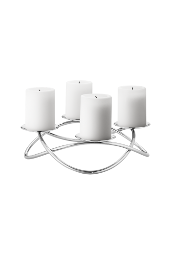 Georg Jensen Season Mirror Polished Stainless Steel Candleholder, Large - H: 3.03 inches. Ø: 12.4 inches.