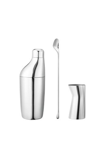 Georg Jensen Sky Set - Shaker, Stirring Spoon And Jigger Mirror Polished Stainless Steel - Shaker: H: 221 mm Ø: 81 mm V: 0.5 L. Stirring spoon: H: 280 mm W: 22 mm. Jigger: H: 85 mm W: 44 mm