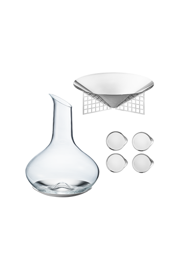 Georg Jensen Sky Set With Matrix Bowl Stainless Steel - H: 0.79 inches. W: 13.78 inches. D: 7.48 inches.