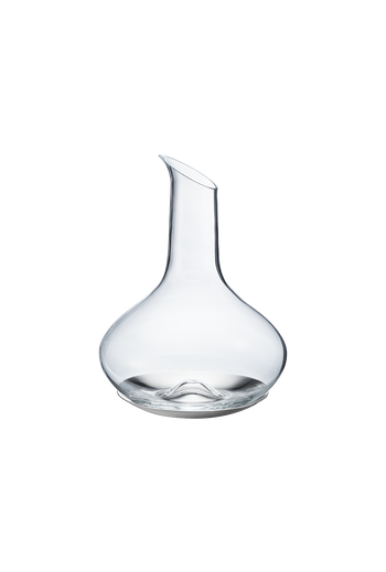 Georg Jensen Sky Wine Carafe Glass and Stainless Steel Coaster - H: 9.09 inches. Ø: 7.68 inches.