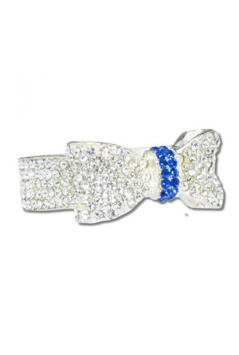 Silver Bow with Blue Center Napkin Ring