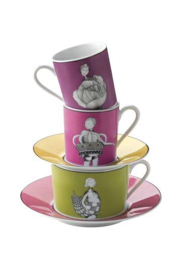 Medard de Noblat Un Air de Famille Set of 4 Tea Cups and Saucers in Gift Box