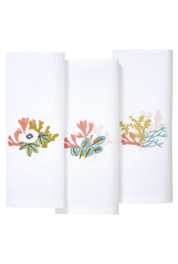 YVES DELORME Calypso Embroidered Waffle Weave Guest Towels 16x28 (Set of 3) - Available in Multi Color White and Beige