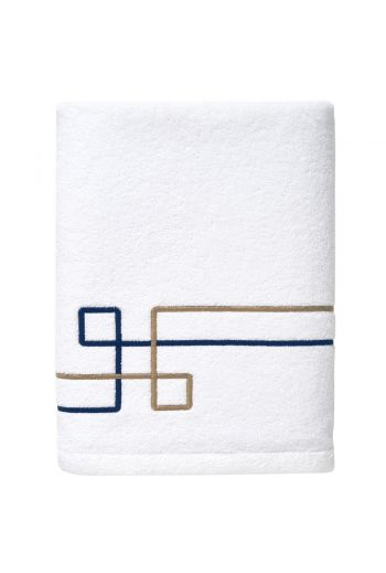 YVES DELORME Escale Embroidered Cotton/Linen Guest Towels 16x24 (Set of 2) - Available Color: Navy and Beige on White